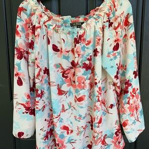 Love Stitch Pink Blue Teal Floral Blouse